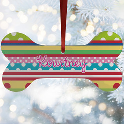 Ribbons Ceramic Dog Ornaments w/ Name or Text