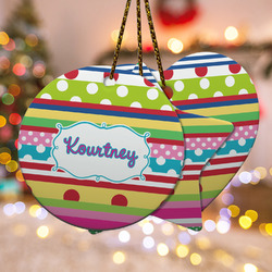 Ribbons Ceramic Ornament w/ Name or Text