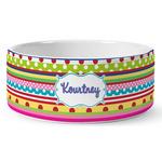 Ribbons Ceramic Dog Bowl (Personalized)