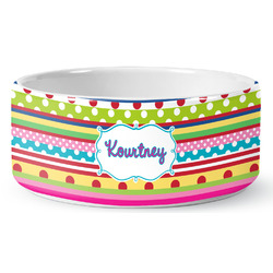Ribbons Ceramic Pet Bowl (Personalized)