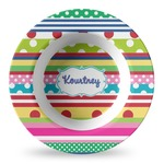 Ribbons Plastic Bowl - Microwave Safe - Composite Polymer (Personalized)