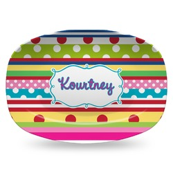 Ribbons Plastic Platter - Microwave & Oven Safe Composite Polymer (Personalized)