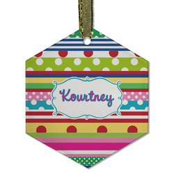 Ribbons Flat Glass Ornament - Hexagon w/ Name or Text