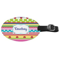 Ribbons Genuine Leather Oval Luggage Tag (Personalized)