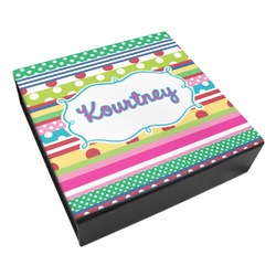 Ribbons Leatherette Keepsake Box - 8x8 (Personalized)