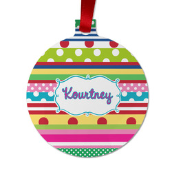 Ribbons Metal Ornaments - Double Sided w/ Name or Text