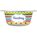 Ribbons Stainless Steel Dog Bowl (Personalized)