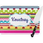 Ribbons Rectangular Glass Cutting Board (Personalized)