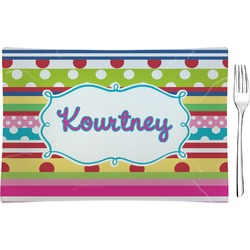 Ribbons Rectangular Glass Appetizer / Dessert Plate - Single or Set (Personalized)