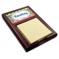 Ribbons Red Mahogany Sticky Note Holder (Personalized)