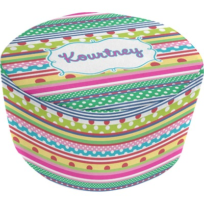 Ribbons Round Pouf Ottoman (Personalized)