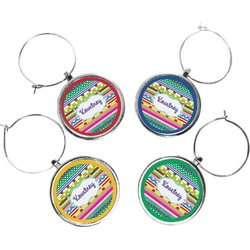 Ribbons Wine Charms (Set of 4) (Personalized)
