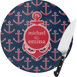 All Anchors Round Glass Cutting Board - Small (Personalized)