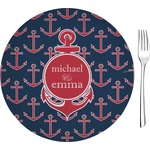 "All Anchors Glass Appetizer / Dessert Plates 8"" - Single or Set (Personalized)"