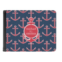 All Anchors Genuine Leather Men's Bi-fold Wallet (Personalized)