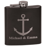 All Anchors Black Flask (Personalized)