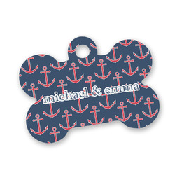 All Anchors Bone Shaped Dog Tag (Personalized)