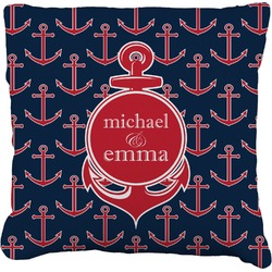 """All Anchors Faux-Linen Throw Pillow 26"""" (Personalized)"""