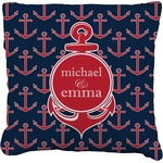 All Anchors Burlap Throw Pillow (Personalized)