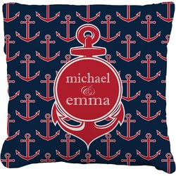 All Anchors Faux-Linen Throw Pillow (Personalized)