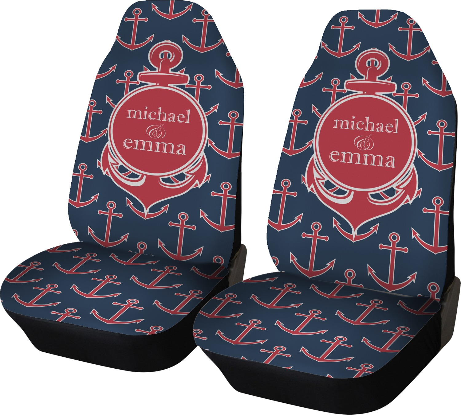 All Anchors Car Seat Covers Set Of Two Personalized