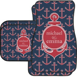 All Anchors Car Floor Mats Set - 2 Front & 2 Back (Personalized)