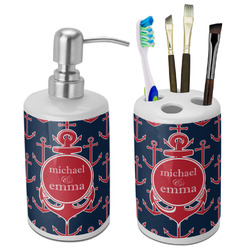 All Anchors Ceramic Bathroom Accessories Set (Personalized)