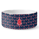 All Anchors Ceramic Dog Bowl (Personalized)