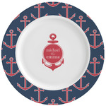All Anchors Ceramic Dinner Plates (Set of 4) (Personalized)