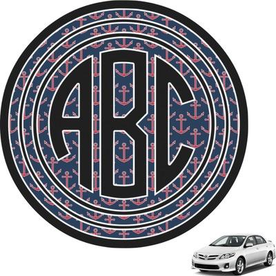 All Anchors Circle Monogram Car Decal Personalized You - Circle monogram car decal