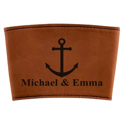 All Anchors Leatherette Cup Sleeve (Personalized)