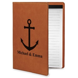 All Anchors Leatherette Portfolio with Notepad - Small - Single Sided (Personalized)