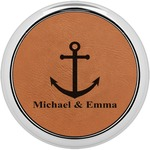 All Anchors Leatherette Round Coaster w/ Silver Edge - Single or Set (Personalized)