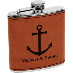All Anchors Leatherette Wrapped Stainless Steel Flask (Personalized)