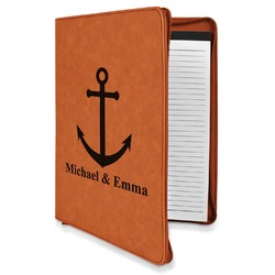 All Anchors Leatherette Zipper Portfolio with Notepad (Personalized)