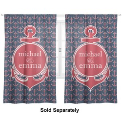 "All Anchors Curtains - 56""x80"" Panels - Lined (2 Panels Per Set) (Personalized)"