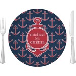 "All Anchors Glass Lunch / Dinner Plates 10"" - Single or Set (Personalized)"