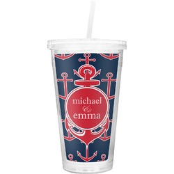 All Anchors Double Wall Tumbler with Straw (Personalized)