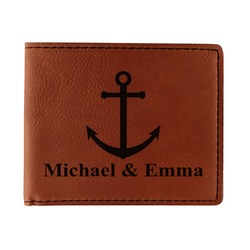 All Anchors Leatherette Bifold Wallet - Double Sided (Personalized)