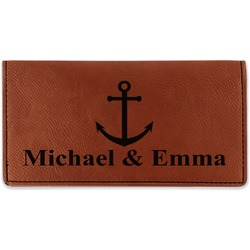 All Anchors Leatherette Checkbook Holder (Personalized)