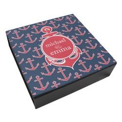 All Anchors Leatherette Keepsake Box - 3 Sizes (Personalized)
