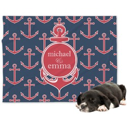 All Anchors Minky Dog Blanket (Personalized)