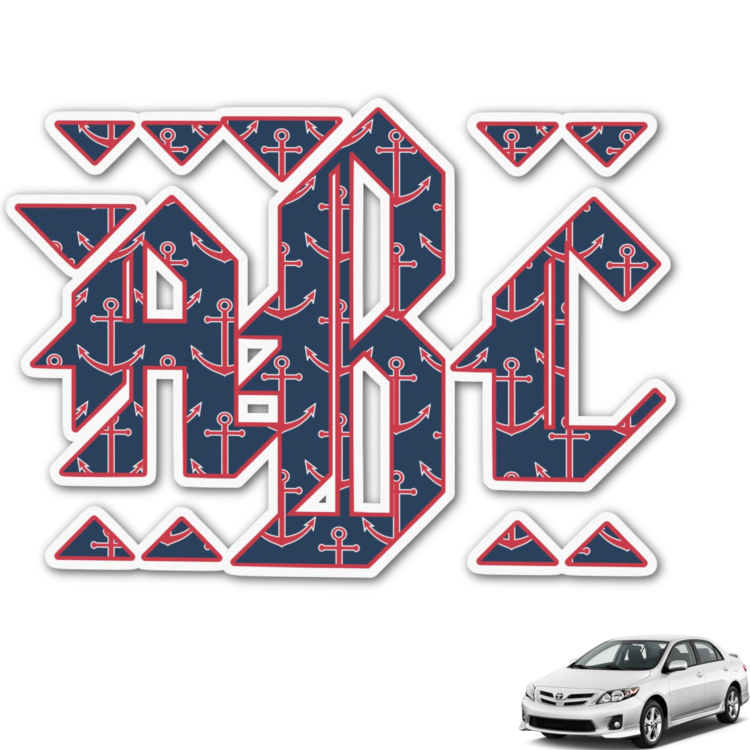 All Anchors Monogram Car Decal Personalized YouCustomizeIt - Anchor monogram car decal