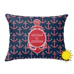 All Anchors Outdoor Throw Pillow (Rectangular) (Personalized)
