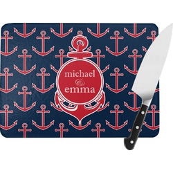 All Anchors Rectangular Glass Cutting Board (Personalized)