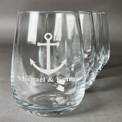 All Anchors Stemless Wine Glasses (Set of 4) (Personalized)