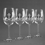 All Anchors Wine Glasses (Set of 4) (Personalized)