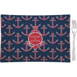 All Anchors Glass Rectangular Appetizer / Dessert Plate - Single or Set (Personalized)