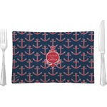 All Anchors Glass Rectangular Lunch / Dinner Plate - Single or Set (Personalized)