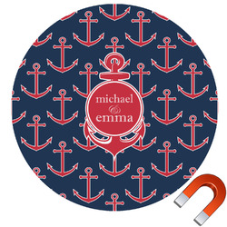 All Anchors Round Car Magnet (Personalized)